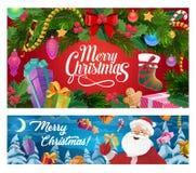Носки подарков рождественской елки, Санта и Нового Года иллюстрация штока