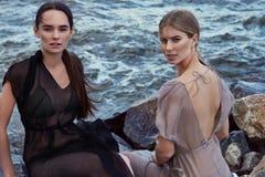 Носки 2 платье красивой сексуальной одежд стиля подруг silk Стоковые Изображения RF
