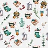 Носки рождества, печенья пряника, ветви рождественской елки, красные ягоды, циннамон, тросточка конфеты, апельсин картина безшовн бесплатная иллюстрация
