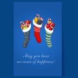 Носки рождества с настоящими моментами Вектор зимы Стоковые Изображения