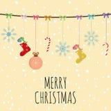 Носки шариков состава веселого рождества и backgro колоколов желтое иллюстрация вектора