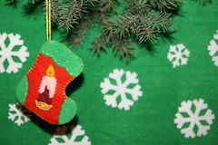 носок и свечи рождества Стоковое Изображение RF