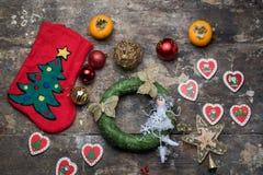 Носок и украшение рождества для дерева Стоковая Фотография RF