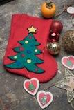 Носок и шарики рождества для дерева Стоковые Фотографии RF