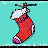 носок красного цвета рождества Стоковое фото RF