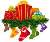 носок подарков рождества Стоковое фото RF