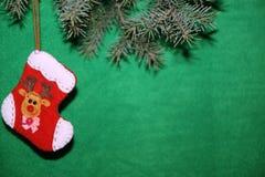 Носок рождества с оленем Стоковые Изображения RF