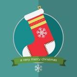Носок рождества в плоском дизайне Стоковое Фото
