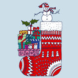 Носок рождества красный с снеговиком и настоящими моментами Стоковая Фотография RF