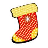 Носок для подарков с картинами на белой предпосылке Веселое Christm Стоковая Фотография RF