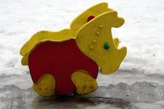Носорог в лужице Стоковые Фото