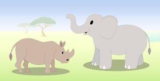Носорог и слон шаржа Стоковое Изображение RF