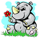 Носорог на иллюстрации вектора травы Стоковые Фотографии RF