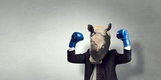 Носорог одетый в деловом костюме Мультимедиа стоковое изображение