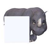 Носорог шаржа с пустым знаком Стоковое Изображение RF