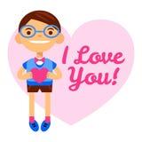 Носящий очки мальчик с сердцем, днем ` s валентинки приветствиям счастливым Надпись я тебя люблю Плоск-стиль вектора шаржа Стоковое Изображение
