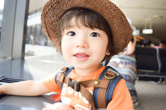 нося мальчик шляпы который милый японский ребенк Стоковые Фотографии RF