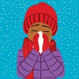 Нос гриппа зимы человека дуя бесплатная иллюстрация