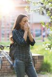 Нос женщины дуя из-за аллергии цветня весны Стоковая Фотография RF