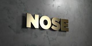 Нос - знак золота установленный на лоснистой мраморной стене - 3D представил иллюстрацию неизрасходованного запаса королевской вл Стоковое Изображение