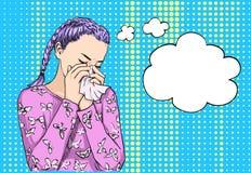 Нос красивой белокурой девушки пуков с волосами чихая дуя на ткани из-за аллергии или плакать весны Эскиз вектора иллюстрация вектора