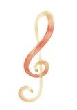 Нотация символа нот Sol ключевая с watercolour Стоковое фото RF