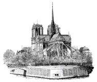 Нотре Даме в Париж Стоковая Фотография RF