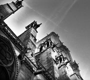 Нотр-Дам против неба стоковое изображение rf