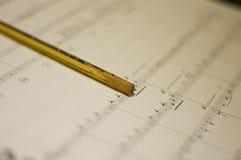 Ноты и карандаш Стоковые Фотографии RF