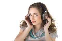 нот девушки слушая довольно Стоковые Фото