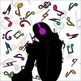 нот девушки слушая к бесплатная иллюстрация