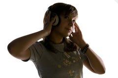 нот девушки слушая стоковые фото