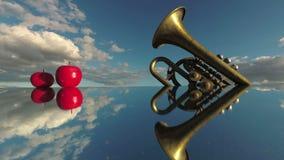 нот иллюстрации электрической гитары принципиальной схемы Аппаратура латунного ветра и красные яблоки на движении зеркала и облак сток-видео