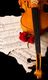 Нот листа скрипки и подняло Стоковая Фотография RF
