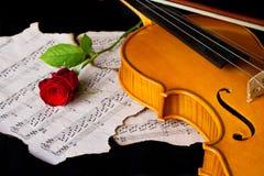 Нот листа скрипки и подняло Стоковое Изображение