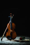 Нот листа скрипки и подняло Стоковые Фотографии RF