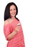 Нот девочка-подростка слушая на телефоне Стоковая Фотография RF
