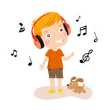 нот мальчика счастливое слушая к иллюстрация вектора