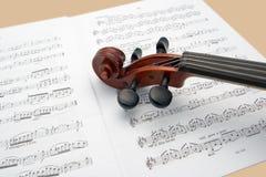 нот над скрипкой счетов Стоковые Изображения RF