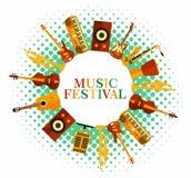 нот предпосылки цветастое Аппаратуры музыки Плакат музыкального фестиваля Джаз иллюстрации вектора, утес иллюстрация штока