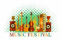нот предпосылки цветастое Аппаратуры музыки Плакат музыкального фестиваля Джаз иллюстрации вектора, утес иллюстрация вектора