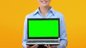 Ноутбук показа бизнес-леди с зеленым экраном, рекламой применения сток-видео