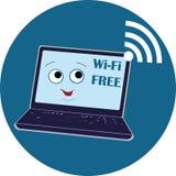 Ноутбук с улыбкой, символ Wi-Fi свободен, векторы, для пользовательского  стоковое фото