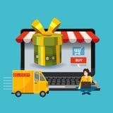 Ноутбук, noteebok с зеленой подарочной коробкой След доставки, люди приказывая концепцию подарка онлайн ходя по магазинам Продажа бесплатная иллюстрация