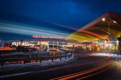 Ноча авиапорта Pulkovo Россия Санкт-Петербург 14-ое января 2017 Стоковая Фотография RF