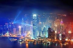 Ноча антенны Гонконга Стоковые Изображения