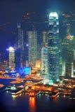 Ноча антенны Hong Kong Стоковые Изображения