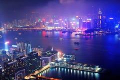Ноча антенны Hong Kong Стоковые Фото
