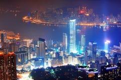 Ноча антенны Hong Kong Стоковая Фотография RF
