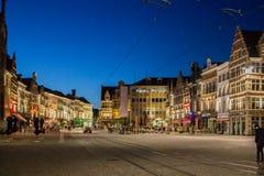 Ноча Бельгия Gent Стоковое Изображение RF